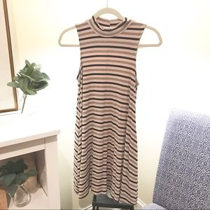 LUSH / Ribbed Mock Neck Striped Swing Dress